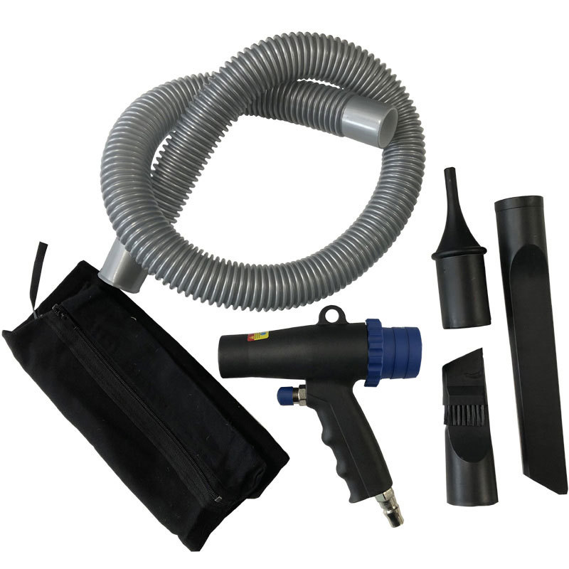 Pneumatic blowing and dusting dual purpose gun, suction discharge gun, blower vacuum cleaner, dust c