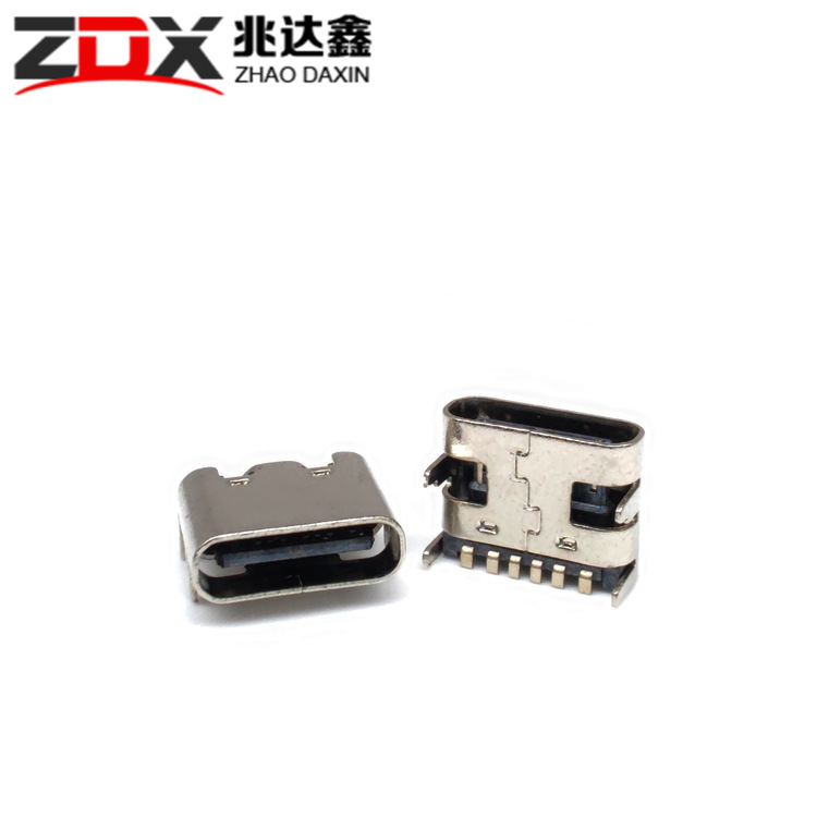 ZDX type-c female 6P plug-in 6.8 four-pin plug-in USB connector