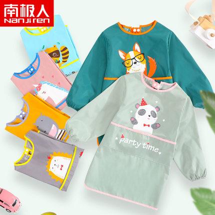 Velcro Áo khoác   chống thấm quần áo trẻ em sơn quần áo nghệ thuật vẽ tạp dề dài tay áo dài bé ăn uố