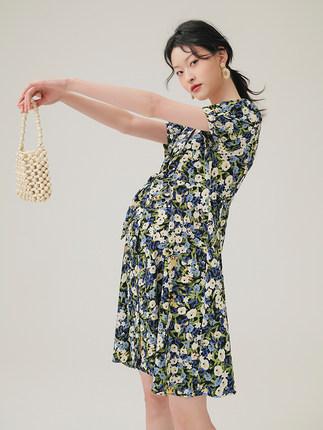 SELLYNEAR Trang phục bầu Xu hướng thời trang dành cho bà bầu mùa hè 2020 Mùa hè Màu hỗn hợp tay ngắn