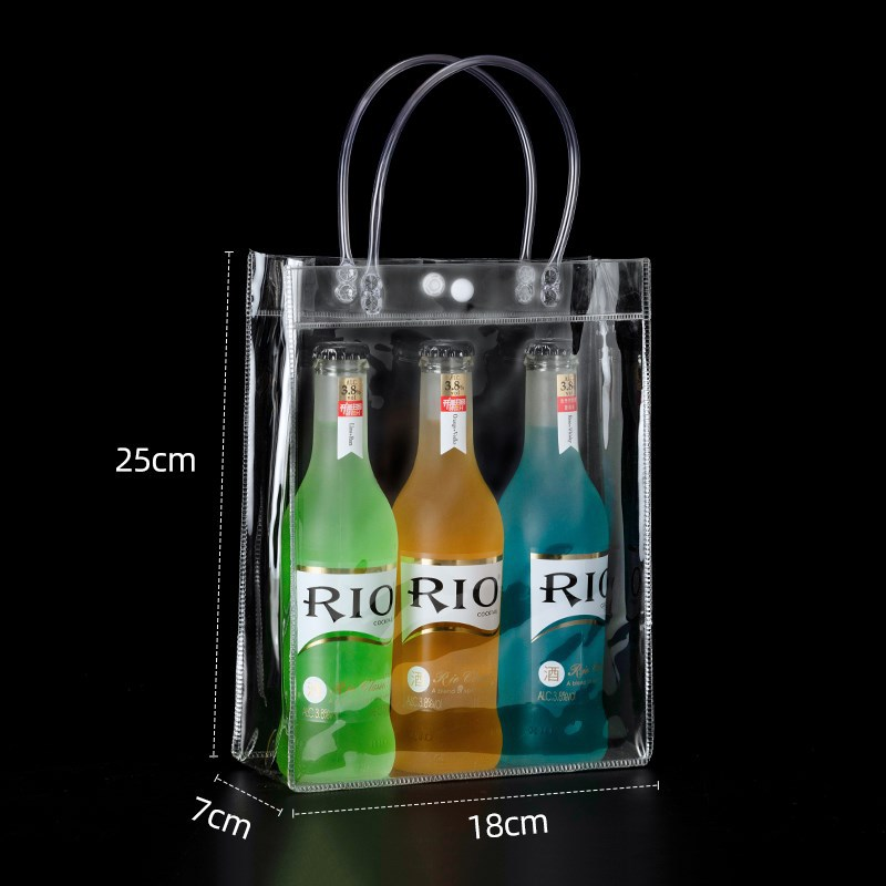 Headrope packing bag transparent hand bag PVC high grade gift bag plastic milk tea packing bag small