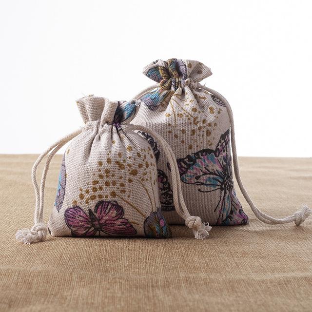 ZHUOLE Wholesale Chinese style cotton linen bag, empty sachet bag, small drawstring bag, jewelry gif