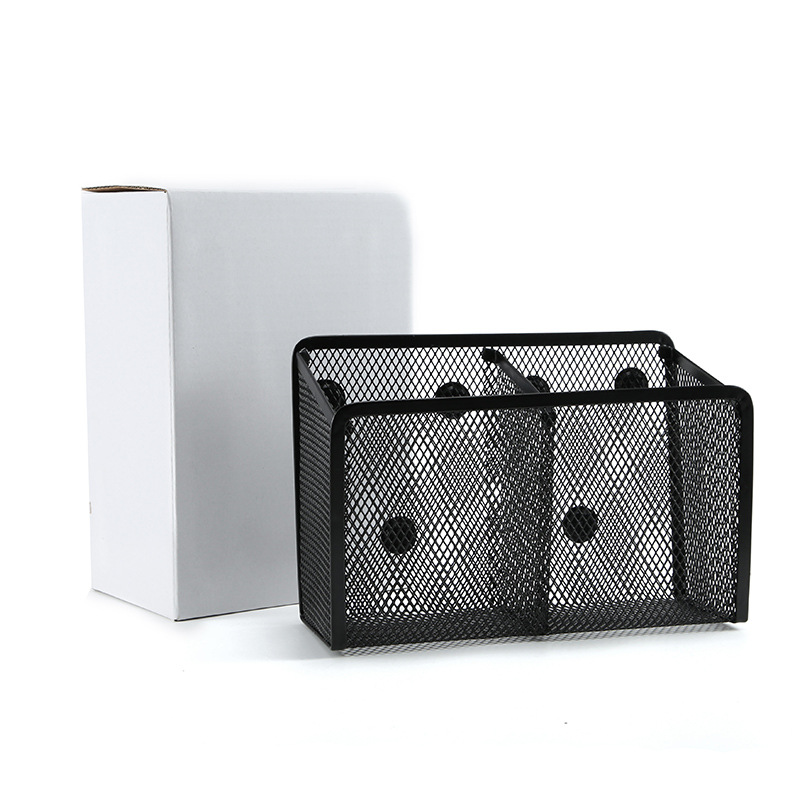 Metal iron mesh office home cultural and creative supplies storage stationery magnetic two grid squa