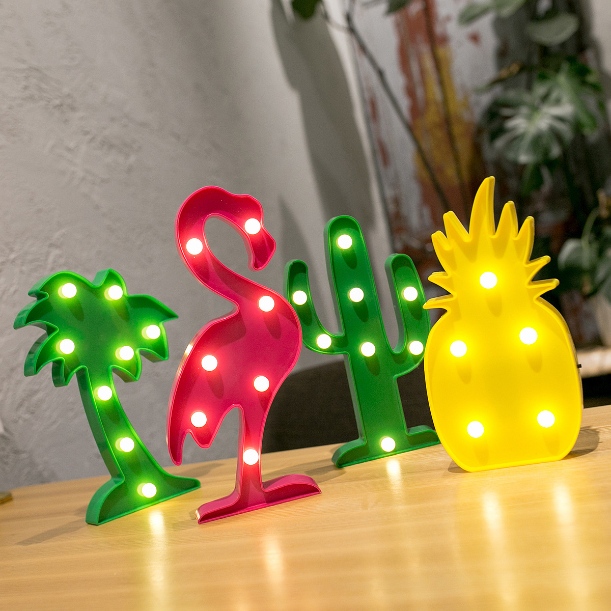 AOQIANG ins explosion style Korean chic wind led flamingo cactus pineapple cloud decorative table la