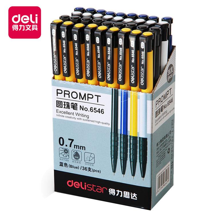 Deli 6546 Press Ballpoint Pen 0.7mm Plastic Oil Pen 36 Bullet Point Ballpoint Pen Office Supplies Wh
