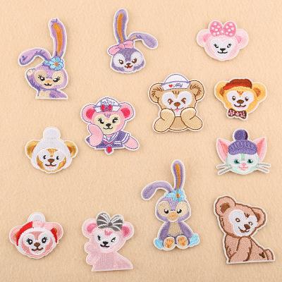 DUOKU phù hiệu vải Bộ đôi máy tính thêu nhãn phụ kiện quần áo động vật hoạt hình dễ thương thỏ khỉ m