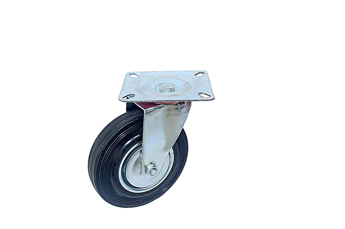6-inch flat-bottom fixed universal brake wheel mute wear-resistant industrial wheel trolley wheel