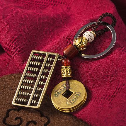 Đồ trang trí móc treo  Mặt dây chuyền chìa khóa bầu đồng may mắn cá tính sáng tạo dây chuyền xe hơi