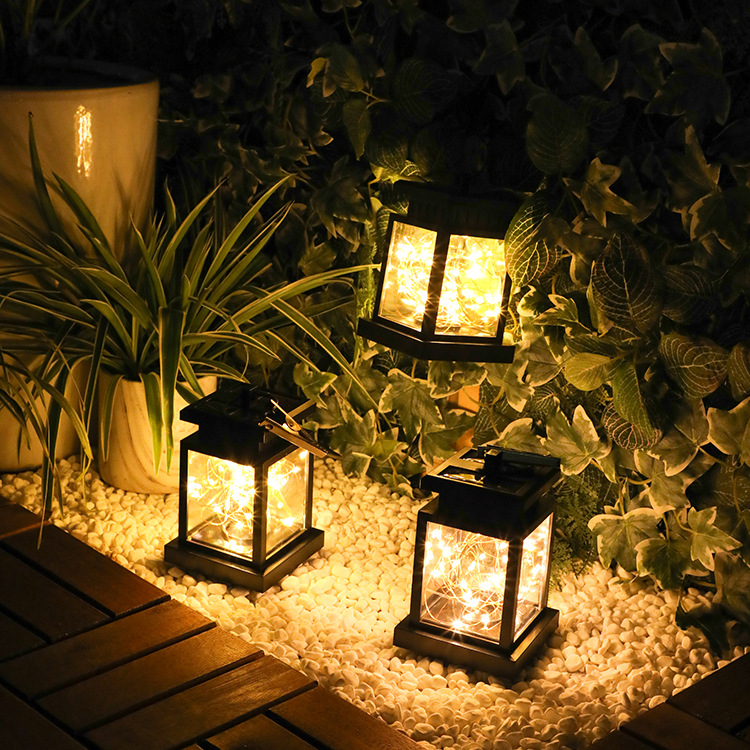Ladarmoon Solar Wind Lantern Christmas Star Copper Wire Decorative Lantern Outdoor Solar Candle Ligh
