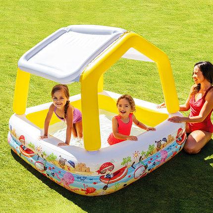 INTEX  bể bơi trẻ sơ sinh  Bể bơi bơm hơi INTEX bóng râm nhà trẻ em bể bơi lớn bể bơi trong nhà trẻ