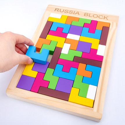 Xếp hình 3D bằng gỗ  Xây dựng câu đố Tetris giáo dục mầm non và đồ chơi phát triển trí tuệ cho bé tr