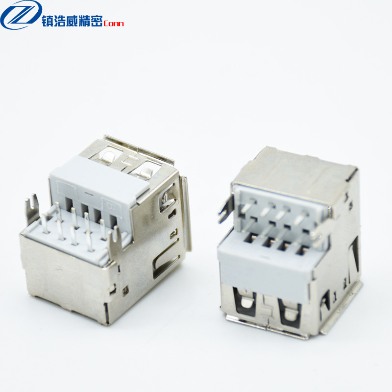 ZHENHAO USB interface female connector, double-layer sink plate 10.5 flat elastic straight side harp