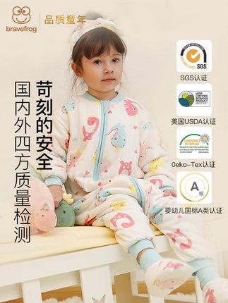 Túi ngủ trẻ em Túi ngủ cho bé mùa thu và mùa đông dày bằng cotton nguyên chất cho bé chống đá là tạo