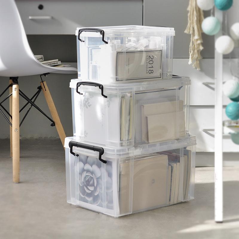 Hộp nhựa đựng đồ lưu trữ lớn trong suốt góc vuông dày dặn .
