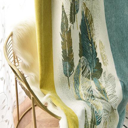 chenille rèm cửa sổ  Ánh sáng Mỹ sang trọng rèm chenille đường khâu liền mạch giả cashmere phòng ngủ