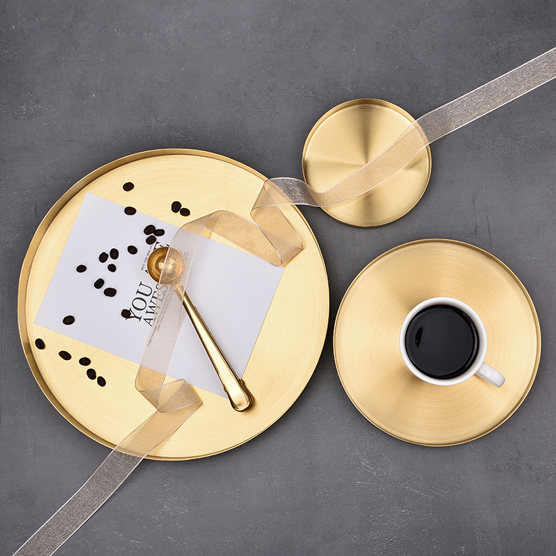 SHUCHAO Light luxury golden round tray Nordic stainless steel round straight edge jewelry cosmetic s