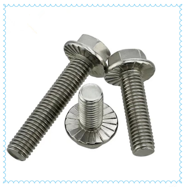 Toothed hexagonal gasketed stainless steel 304 flat head hexagon flange bolt M10