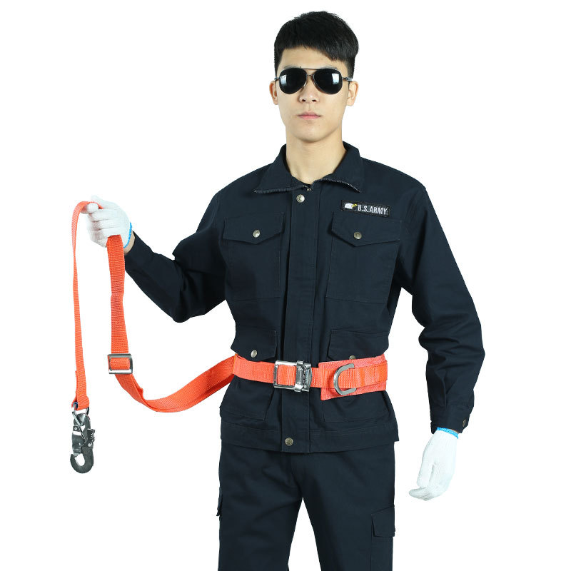 Wholesale high-altitude work anti-falling double hook safety belt Single insurance full-body safety