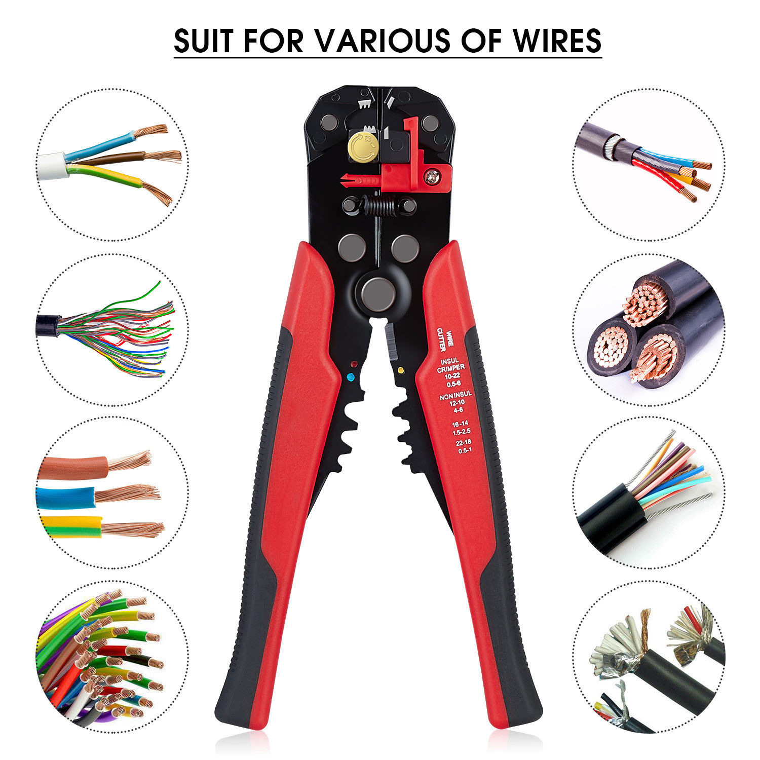 MAIRUIKANG 5-in-1 multi-functional wire stripper automatic wire stripper cutting and crimping pliers