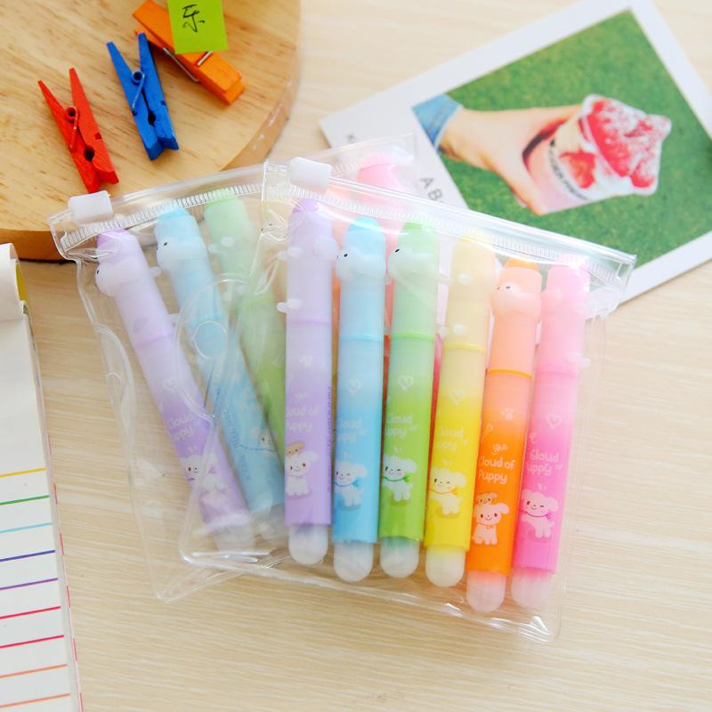 AIHAO Hobby 6411 Color Highlighter Pen, Highlight Pen, Marker Pen, Fluorescent Marker Pen 6pcs Puppy