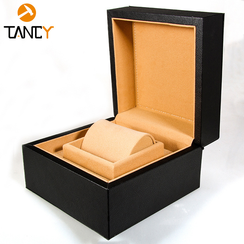 TANCY High-end watch box display box brand watch leather box clamshell packaging box flannel jewelry