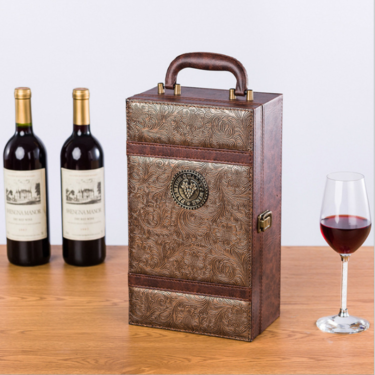 WEIJUN pu leather double wine leather box with wineware double wine leather box with phoenix tail pa