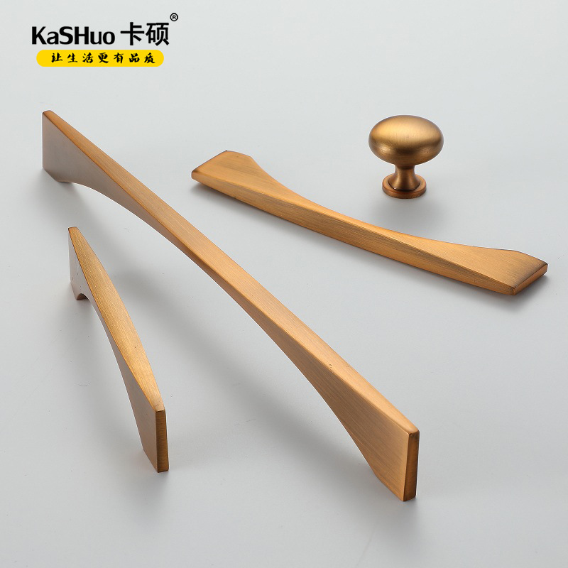 KASHUO CaSO Nordic cabinet door drawer cabinet yellow Bronze Single Hole handle modern simple furnit