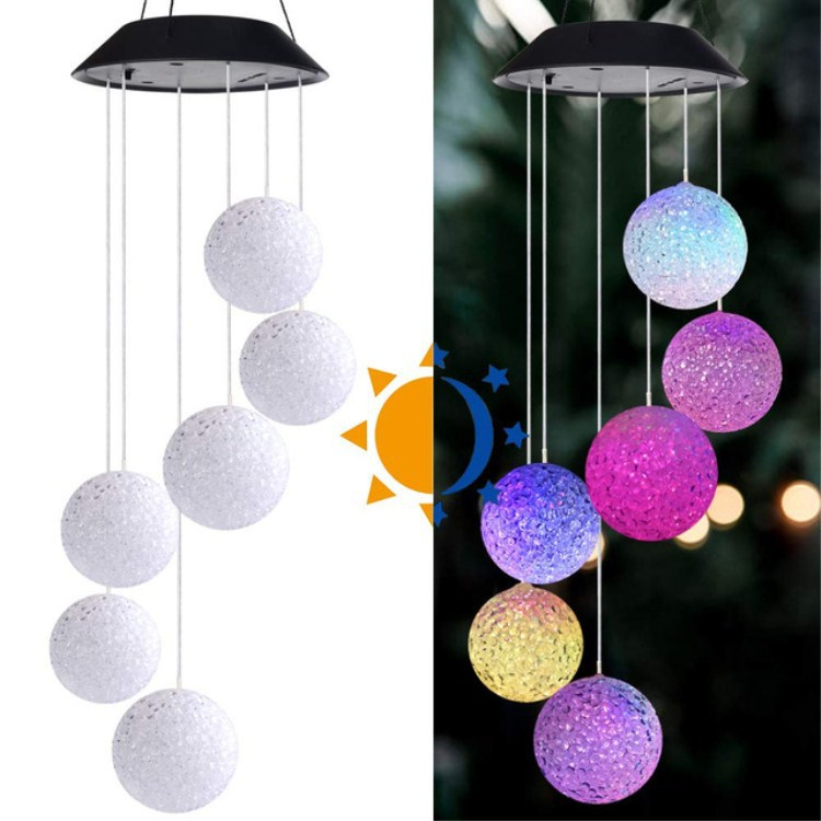 DENGZHICHU New product solar wind chime light rice ball hummingbird color-changing light string LED