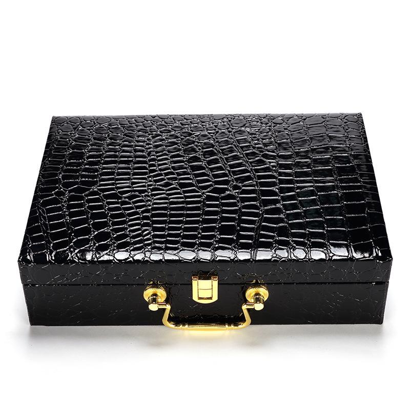 PU leather packaging box Hardware portable MDF belt box Thick clamshell crocodile pattern gift box