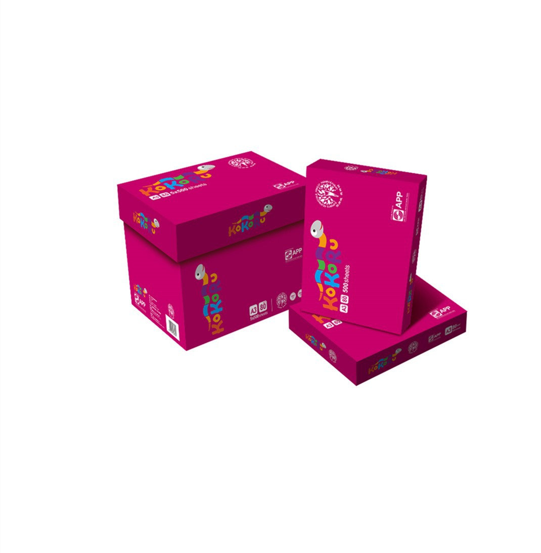 APP Hot promotion APP brand 80g Kukuworm copy paper A3/A4 5 packs/box 500 sheets/pack