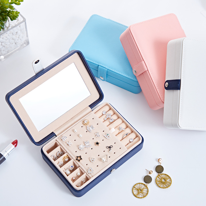 MISIYU Portable PU fresh and simple earrings jewelry box small earrings ring multifunctional jewelry