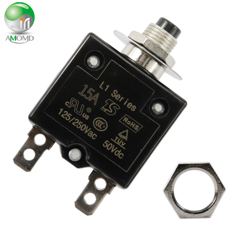 AMOMD 15A manual circuit breaker switch thermocouple type overcurrent protector protection device