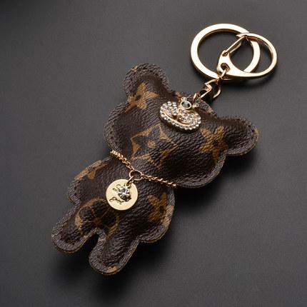 Đồ trang trí móc treo  Móc khóa da cao cấp nam nữ móc chìa khóa gấu sáng tạo kiểu Âu Mỹ mặt dây chuy