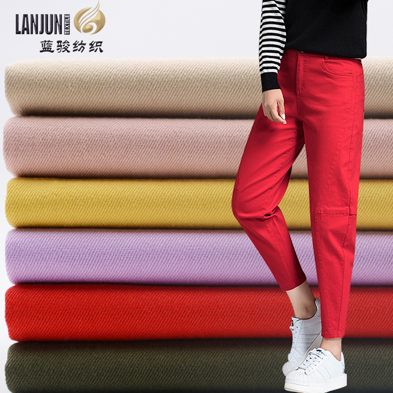 LANJUN Combed twill card wash cotton fabric jacket fabric stock supply women's straight tube jeans