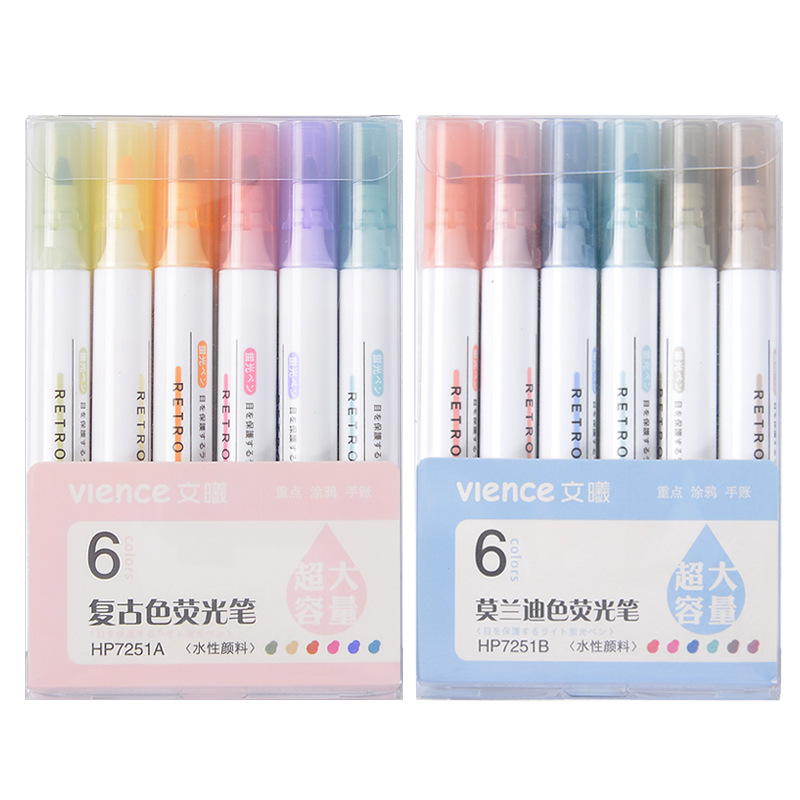 Wenxi Stationery Factory Direct Sales Morandi Retro Macaron Highlighter Student Collection Marker Ma