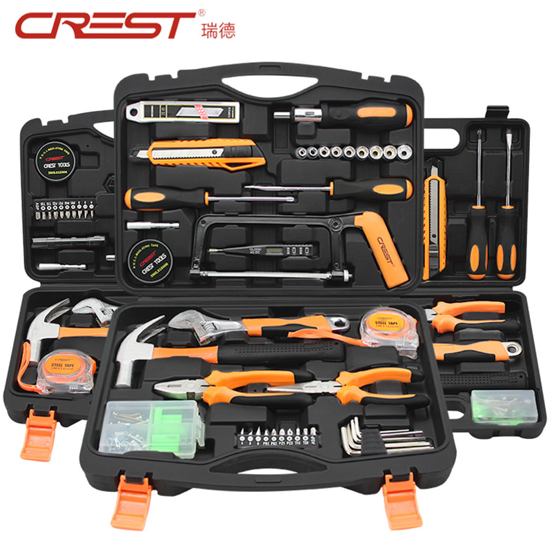 CREST Reid Hardware Tool Set Household Combination Car Set Household Manual Maintenance Tool Box Gif