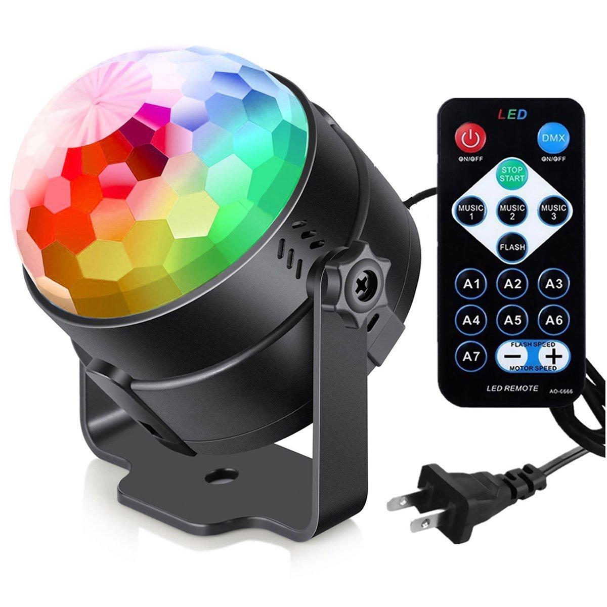 Aimkeeg Stage lighting sound control ktv bar concert square dance car led crystal magic ball usb col