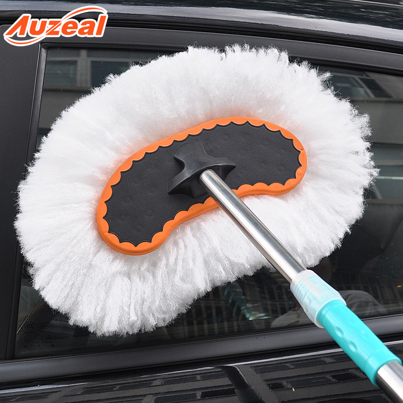 Auzeal Car wash mop, car wash brush, soft bristled long handle, telescopic dust car duster, milk sil