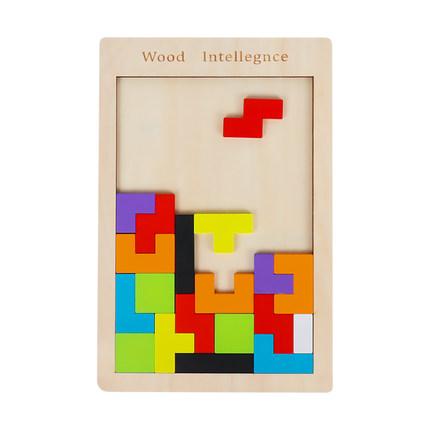Xếp hình 3D bằng gỗ  Tetris xây dựng khối câu đố ghép hình cho trẻ nhỏ 2-3-4-6 tuổi bé có lợi cho sự