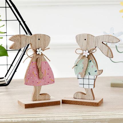 Đồ trang trí bằng gỗ  Đồ trang trí bằng gỗ kiểu Mỹ cặp vợ chồng thỏ sáng tạo ấm áp và dễ thương đồ t