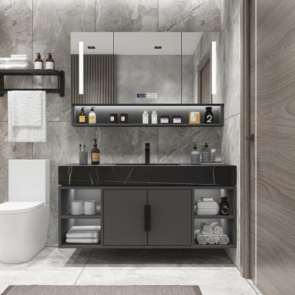 Tủ phòng tắm  Bàn đá tích hợp chậu rửa tủ phòng tắm kết hợp tủ phòng tắm thông minh hiện đại tối giả
