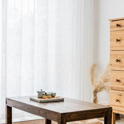 JIANIANHUA Vải rèm cửa Vải lanh chéo sợi hoang dã màu trắng rèm cửa sổ màn hình phòng khách ban công