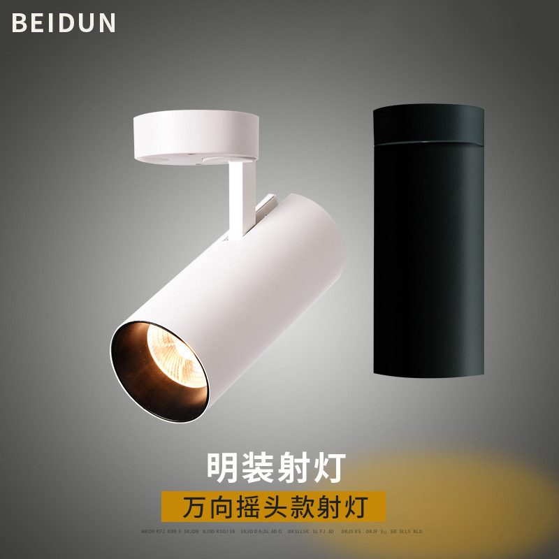 PINDUN LED surface mounted spotlight track light Nordic 360°cob ceiling mounted two-wire rail light
