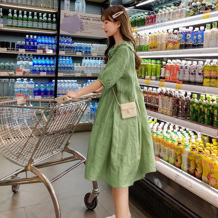Trang phục bầu Váy cotton và vải lanh cho bà bầu mùa hè, cỡ lớn, váy bà bầu nhỏ tươi, cổ áo búp bê,