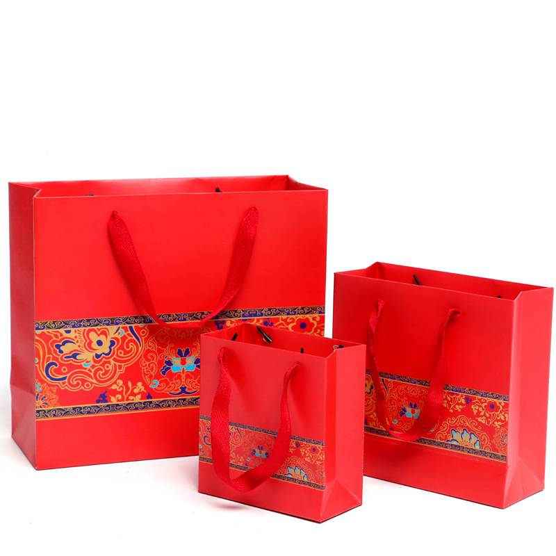 Chinese style packaging gift bag red festive gift paper bag tote bag wedding candy bag