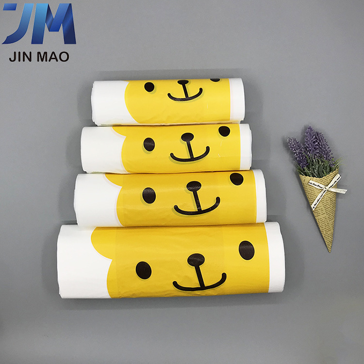 JINMAO Net red cartoon takeaway packaging bag disposable thickened catering portable vest bag plasti