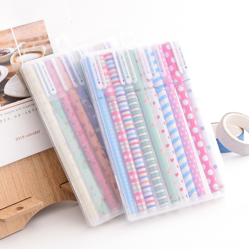 LUHAO Japan and South Korea small fresh and cute floral watercolor pen color gel pen pen 10 set stat