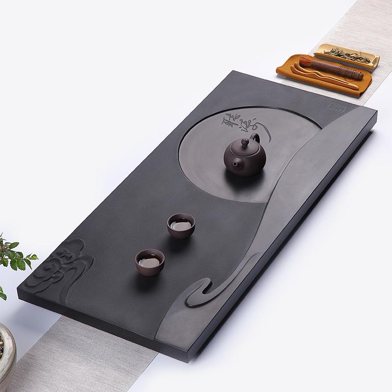 Natural ebony stone tea tray household simple monolithic stone tea table Kung Fu drainage large ston