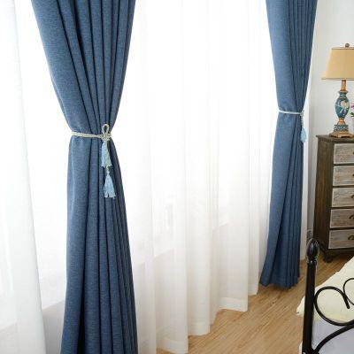 Vải rèm cửa Màu tinh khiết, bông, vải lanh, bóng râm, vải rèm, kỹ thuật khách sạn, vải lanh dày, che