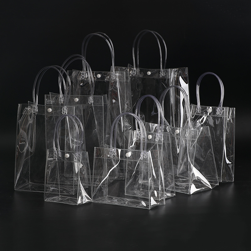 Plastic transparent snap button pvc packaging bag gift shopping packaging pvc tote bag
